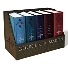 ‏‪A Game of Thrones Leather-Cloth Boxed Set: A Game of Thrones, a Clash of Kings, a Storm of Swords, a Feast for Crows, and a Dance with Dragons‬‏