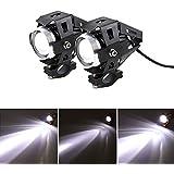 2 piezas Faros Delanteros de Motocicleta LED U5 de Focos Delanteros de Motocicleta 3000LM 3 modos de haz de luz alta y Parpadeo