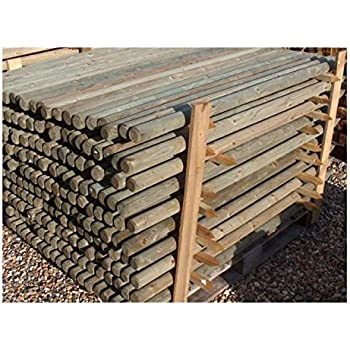10 X 12m 4ft Tall X 40mm Dia Round Wooden Pressure Treated Fence Posts Or Stakes Wood Ideal For Staking Trees And Plants