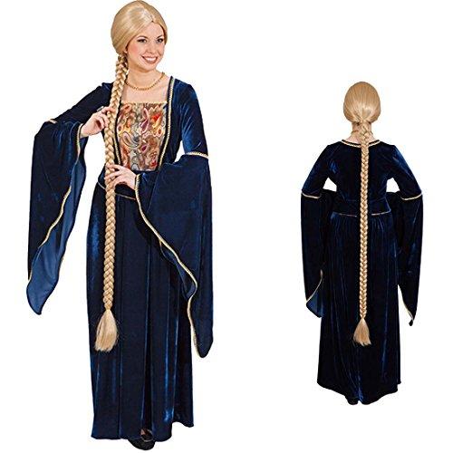 Perücke Rapunzel Mittelalterperücke lang Langhaarperücke geflochten Damenperücke mit Zopf Frauenperücke Oktoberfest (Blonde Renaissance Perücke Kostüme)
