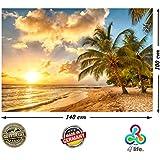 PMP-4life Póster para la pared con fotografía Playa en la puesta en Barbados. En HD y tamaño XXL, 140 cm x 100 cm. Decoración para la pared en alta definición, fotopóster Palmeras del Caribe sol del verano. Incluye otro póster de regalo