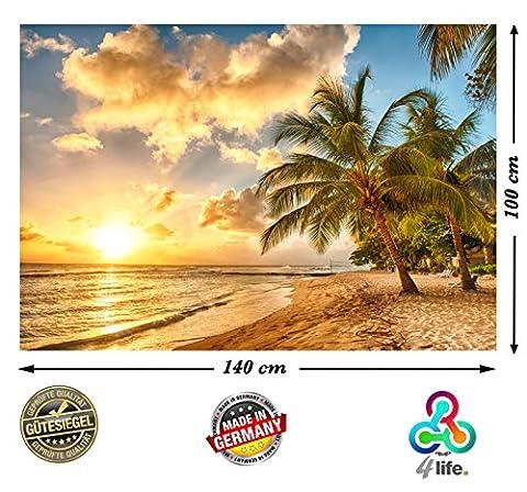 PMP-4life Wandbild Strand in Barbados bei Sonnenuntergang HD XXL Poster 140cm x 100cm Hochauflösende Wanddekoration Bild für Wandgestaltung | Fotoposter Karibik Sonne Sommer Palmen