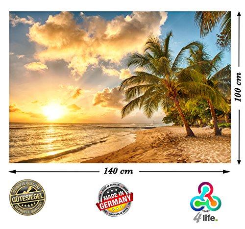 trand in Barbados bei Sonnenuntergang HD XXL Poster 140cm x 100cm Hochauflösende Wanddekoration Bild für Wandgestaltung | Fotoposter Karibik Sonne Sommer Palmen | (Sommer-poster)