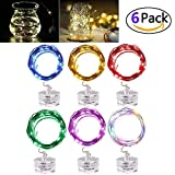 LED Fairy String Lights - Joseche Festival String Light [6 Pack] 2M/6.5ft MutilColor Waterproof String Lights Battery Operated with 20 Micro LEDs for Wedding Parties Bedroom Festival Decor (Rainbow)