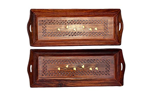 Worthy Shoppee Wooden Premium Quality Serving Tray With Hand Carved Design 11...