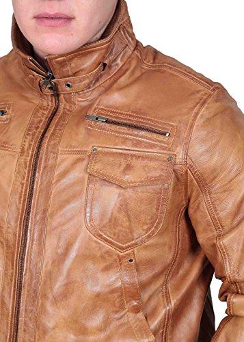 Herren Gepaßte Bomber Lederjacke Designer weiche hochwertige Mantel George hellbraun - 7