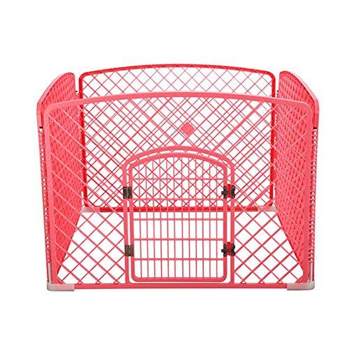 ZHENHAO Welpenzaun,4 Panel Haustier Laufstall Mit Tür, Größe 90 * 90 * 60cm, Kleine Und Mittlere Haustier Kunststoff, Innenbereich,Pink