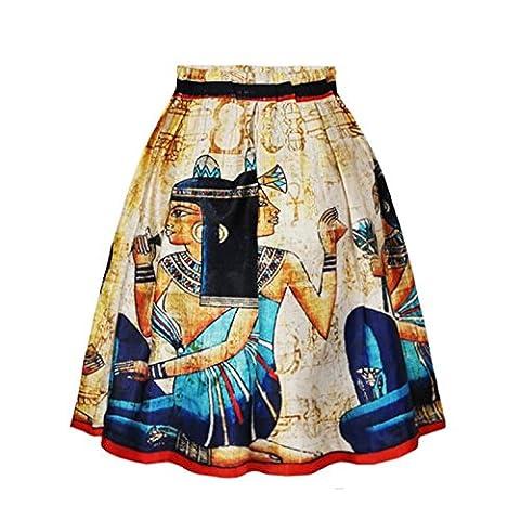 femmes Dame fille mi-longues motif imprimé plissé jupe a-ligne robe de plage vacances d'été Pharaoh S/M