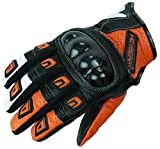 Heyberry Motorradhandschuhe Leder Motorrad Handschuhe kurz schwarz orange Gr. L