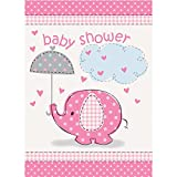 Umbrella Elephant Girl Baby Shower Invitations w/ Envelopes (8ct)