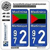 blasonimmat 2 Autocollants Plaque immatriculation Auto 972 Martinique - Drapeau Nationaliste