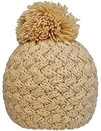 Toutacoo, Bonnet Tricot Croisé Uni à Pompon - Fabriqué à la Main