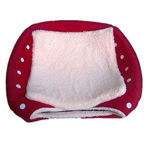 Schöne Strawberry weicher Kaschmir Warm Pet Nest Hund, Katze, Bett klappbar Red - 3