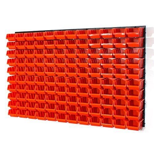 126 tlg. Wandregal Regal InBox Gr.2 orange Werkstatt Lochwand Starke Wandplatte