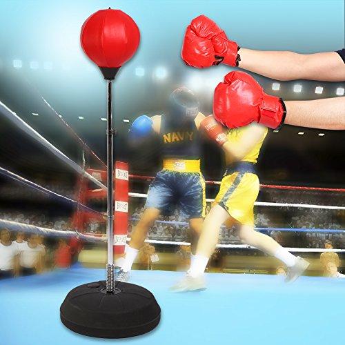 GOTOTOP Punchingball, Rot 120-150cm höhenverstellbar Boxstand für Jugendliche und Kinder, Aufblasbare Boxsack Boxtraining Set mit Handschuhe