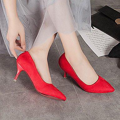 LvYuan Da donna Sandali Comoda PU (Poliuretano) Estate Comoda A stiletto Nero Grigio Fucsia Rosso Blu 7,5 - 9,5 cm Black