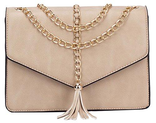 Kukubird Lucy Kette Quaste Design Crossbody Tasche Mit Kukubird Staubbeutel Beige