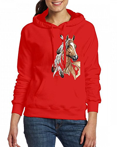 LIGHT COLORED horse Womens Hoodie Fleece Custom Sweartshirts Red