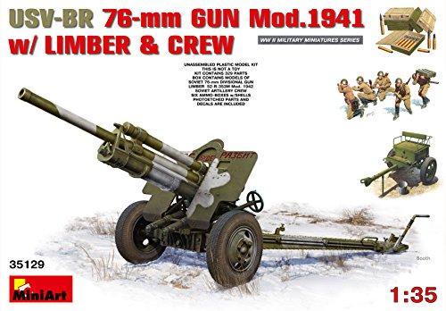 MiniArt 1: 35Escala usv-BR Pistola de 76mm Mod. 194con Limber y Crew-Kit de Modelo de plástico de (Gris)