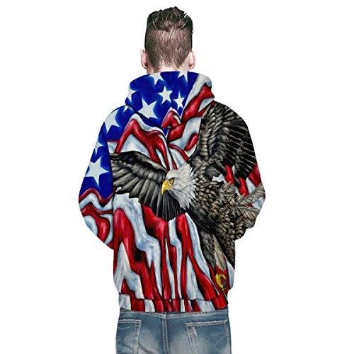 Hoodies Sweat-shirt 3D Imprimer Eagle Flag Cordon à Capuche à Manches Longues Casual Jumper Avec Grande Poche Pour Hommes Ou Femmes Ou Couples A