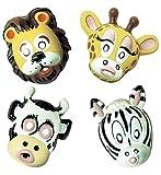 4 Masken * SAFARI * für Motto-Party oder Karneval // Set Masks Verkleidung Kostüm Kinder Kindergeburtstag Geburtstag Fasching Zebra Kuh Löwe Giraffe