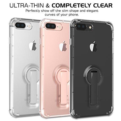 MoKo Hülle für iPhone 8 Plus / 7 Plus - Ultra Slim TPU Stoßfest Handyhülle Crystal Clear Bumper Case Schutzhülle Schale mit drehbaren Stand für Apple iPhone 8 Plus 2017 / iPhone 7 Plus, Silber Grau Silber Grau