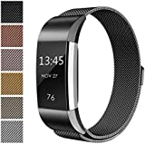 Fitbit Charge 2 Accessory Band, Milanese Loop Stainless Steel Bracelet Strap Replacement Wristband with Unique Magnet Lock for Sport Fitness Tracker Fitbit Charge 2 Heart Rate