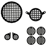 #9: Autofy Checkered Plastic Black Grill for Royal Enfield Bullet Classic 350 & Royal Enfield Classic 500 (Set of 8) - Royal Enfield Stealth Black, Royal Enfield Gun Metal Grey - 1 Headlight Grill 1 Tail Light Grill 2 Parking Light Grills 4 Indicator Grills- All Models