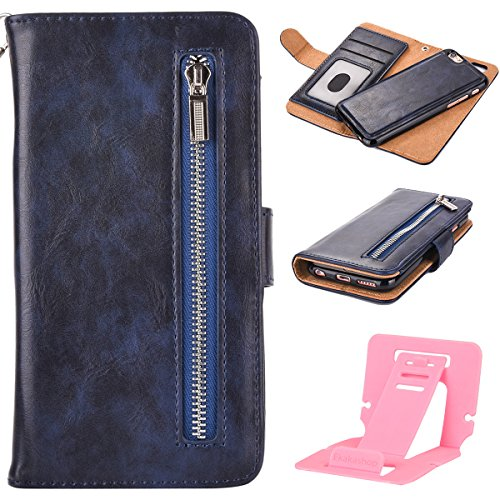 Custodia Per iphone 6S Cerniera Portafoglio, iphone 6 4.7 Cover Pelle, Ekakashop Neo Morbida Rigida Corda Puro Colore Anti-Theft Completa Donna Ragazza Ragazzo Uomo Rigida PU Leather Flip Libro Book s Profondo Blu