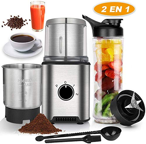 Anpro Molinillo de Café Eléctrico de Acero Inoxidable con 2 Tazas y Botella de Zumo para Pimienta,Sal,Especias,Semillas,Frutos,350W...