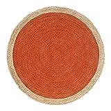 Green Decore Handgefertigte geflochtene runde Naturfaser Jute Teppich, Natur (120 cm Durchmesser, Oculus Orange)