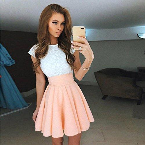 BZLine® Frauen Cocktail Minikleid Damen Sommer Kurzarm Schlittschuhläufer Kleid Khaki