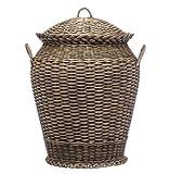 URBANARA panier / bac à linge Java - 100% rotin - 48x60 cm (DxH) - coffre sac corbeille à lessive ou rangement pour jouets enfants et chambres - marron clair (marron foncé)