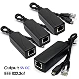 ANVISION 4 Pack Active 5V 2.4A PoE Splitter Adapter IEEE 802.3af Compliant Micro USB 48V To 5V/2.4A For Tablets, Dropcam Or Raspberry Pi, IPC, IP Camera And More