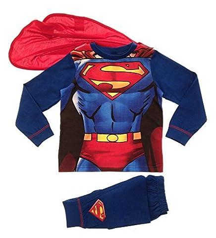 Kinder Jungen Kostüm Play Kostüme / Schlafanzug Pyjama Pj Pjs Set Buzz Lightyear Superman Spiderman Batman Party Größe EU 1-8 Jahre - Superman - Superanzug mit Cape, (Spiderman Kostüme Designs)