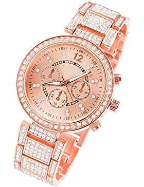 Taffstyle Damen Armbanduhr mit Chronograph Optik und Swarovski Elementen - Roségold