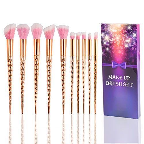 Fashion Base® Professional Licorne Premium Maquillage Brushes-10pcs synthétique souple Cosmetics Lot Tools-face, poudre, contour, Surligneur, liquide, fond de teint, Correcteur, Ombres à paupières, brosse à sourcils kit Cadeau pour elle