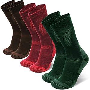Merino Wool Hiking & Walking Socks 3 packs, for Men Women Children, Trekking (Multicolor: Brown, Red, Green, EU 39-42 // UK 6-8)
