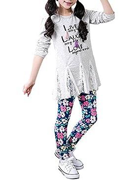 Covermason Niña Moda Navidad Multicolor Flor Impresión Leggings Elástico Pantalones para 2-13 Años