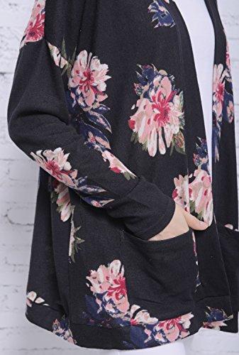 Blooming Jelly Femme Gilet Pull Manteau Femme Chaud Tricot Fleuries Manche Longue Knitwear Outwear Basique Casual Cardigan Noir