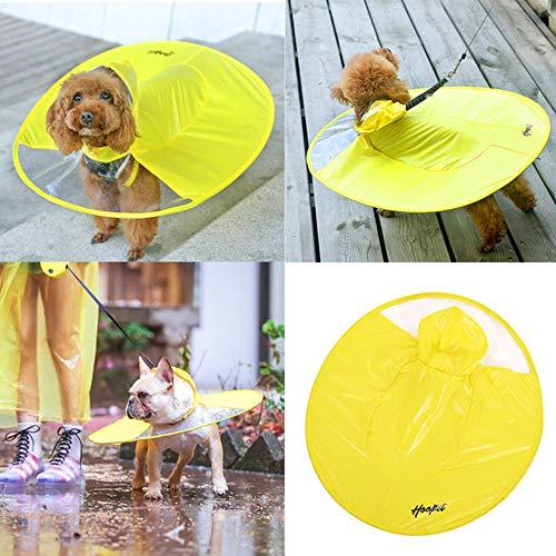 UWUFO - Paraguas Impermeable para Mascotas con Capucha, para Uso al Aire Libre, Impermeable, para Cachorros