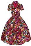 Damen 1950's 40's Retro inspiriert Vintage witzig Blumenmuster Kleid - Rosa, 44