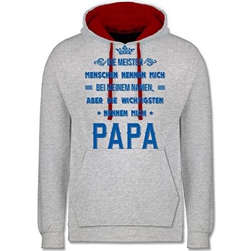Vatertag Die Wichtigsten nennen mich Papa Kontrast Hoodie Grau Meliert/Rot