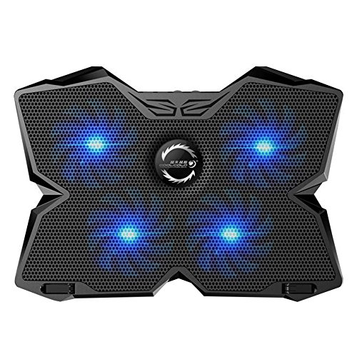 Price comparison product image KOBWA Laptop Cooler Cooling Pad Stand Ultra-quiet Gaming Notebook Cooler For 15.6-17 Inch Laptops with 1200 RPM 4 Fans, Dual USB Port And Multi Tilt Angle Option.(Blue)