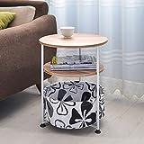 WU Runder Kreativer Einfacher Couchtisch Wohnzimmer Kann Kleine Beistelltisch Notebook Nachttisch/Couchtisch Bewegen,Style3,53 cm (groß)