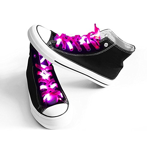 easyDecor (1 par de Cordones de Zapatos de Luz LED, Nylon Cordones con 3 Modos Brillante para Bailar Hip-hop Ciclismo Correr Senderismo Patinaje Deporte (rosado)