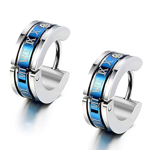 Flongo Edelstahl Ohrstecker Reifen Huggie Ohrringe Silber Blau Römischen Ziffern