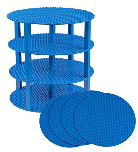 premium-blue-12-circle-stackable-base-plates-4-pack-baseplate-bundle-with-30-2x2-stackers-new-and-im