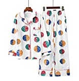 Maiwamita Pyjama en Coton à Manches Longues mis vêtements de Nuit pour Les Grandes Filles et Les Femmes (Rond, XL)