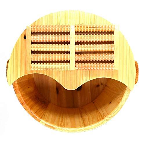 LSLMCS Fußbad Fass Eimer Füße Wanne Pediküre Becken Holz Fuß Becken Holz Sauna Eimer Holz Spa Becken Deckel Massagegeräte 30cm Hohe Wanne Tief Rund -